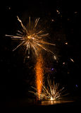 Scintille dei fuochi d'artificio Fotografia Stock