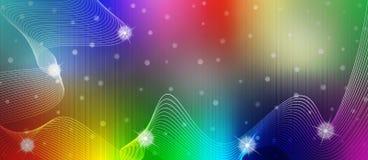Scintille, onde e curve brillanti astratte nel fondo di colore dell'arcobaleno royalty illustrazione gratis