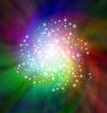 Scintille sviluppantesi a spirale che girano sul fondo colorato buio Immagine Stock Libera da Diritti
