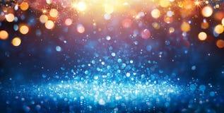 Scintillement abstrait - scintillement bleu avec les lumières de Noël d'or images stock
