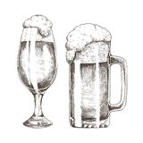 Scintillement Ale Goblets et industrie graphique de bière mousseuse illustration de vecteur
