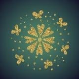 Scintillement d'or de bijoux de fleur de coeur d'amour Photographie stock libre de droits