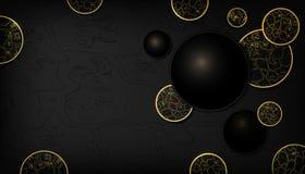 Scintillement d'or de fond de noir et de peau de serpent d'or, de luxe, élégant, fond réaliste de cercles de mode 3d en cuir de l illustration stock
