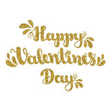 Scintillement d'or marquant avec des lettres le jour de valentines heureux sur le fond blanc Illustration de vecteur pour le jour Photos stock