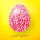 Scintillement heureux de rose d'oeufs de pâques sur un jaune Photo libre de droits