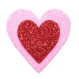 Scintillement rouge et coeurs roses d'isolement sur le blanc. Macro Image libre de droits
