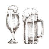 Scintillio Ale Goblets ed arte grafica della birra spumosa illustrazione vettoriale