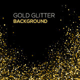 Scintillio dei coriandoli dell'oro su fondo nero Fondo astratto di scintillio della polvere di oro Esplosione dorata dei coriando Fotografie Stock