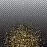 Scintillio dell'oro e sabbia luminosa, fondo trasparente Fotografie Stock Libere da Diritti