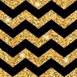 Scintillio senza cuciture dell'oro del modello di zigzag e modello nero Fotografia Stock