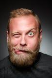 Sciocchezze dell'uomo barbuto Fotografia Stock Libera da Diritti