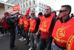 Sciopero generale degli operai metallurgici in Italia fotografia stock