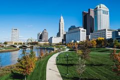 The Scioto Mile and Columbus, Ohio skyline. The path hugs the Scioto River as it winds through downtown Columbus, Ohio royalty free stock images
