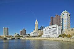Scioto River and Columbus Ohio skyline in autumn Royalty Free Stock Image