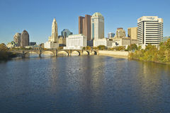 Scioto River and Columbus Ohio skyline in autumn Royalty Free Stock Image