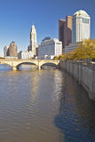 Scioto River and Columbus Ohio skyline in autumn Stock Photography