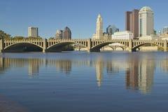 Scioto River and Columbus Ohio skyline in autumn Stock Images