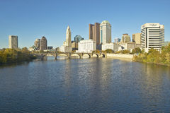 Scioto River and Columbus Ohio skyline in autumn Royalty Free Stock Photography