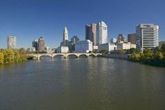 Scioto River and Columbus Ohio skyline in autumn, with setting sunlight Stock Image
