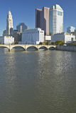 Scioto River and Columbus Ohio skyline in autumn, with setting sunlight Royalty Free Stock Images
