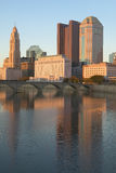 Scioto River and Columbus Ohio skyline in autumn with sunset reflection in water Stock Photo