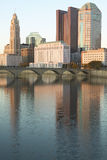 Scioto River and Columbus Ohio skyline in autumn with sunset reflection in water Stock Photography