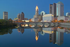 Scioto River and Columbus Ohio skyline at dusk