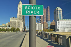 Scioto River Sign in Columbus Ohio, with setting sunlight Royalty Free Stock Photography