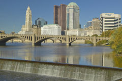 Scioto River with waterfall and Columbus Ohio skyline Royalty Free Stock Image