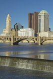 Scioto River with waterfall and Columbus Ohio skyline Stock Image