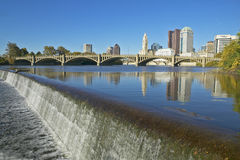 Scioto River with waterfall and Columbus Ohio skyline Stock Photos