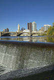 Scioto River with waterfall and Columbus Ohio skyline Royalty Free Stock Images