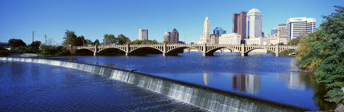 Scioto River with waterfall and Columbus Ohio skyline, with setting sunlight Royalty Free Stock Photography