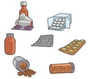 Sciroppo dell'antidolorifico della pillola della droga - illustrazione Fotografie Stock Libere da Diritti