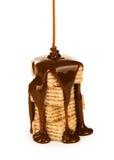 Sciroppo di Hocolate sull'biscotti Fotografia Stock Libera da Diritti
