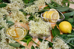 Sciroppo di salute dai fiori della bacca di sambuco Fotografie Stock