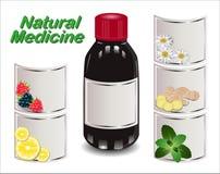 Sciroppo medico dagli ingredienti naturali differenti Fotografia Stock