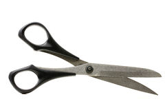 Scissor. One scissor with black handgrip on white background Stock Photos