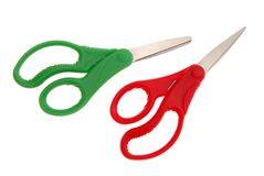 Scissor. Two color of kitchen scissor Royalty Free Stock Photos
