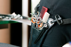 Scissor bag or holster of hairdresser Stock Images