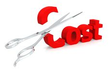 Scissor and cost. Hi-res original 3d-rendered computer generated artwork Royalty Free Stock Photos
