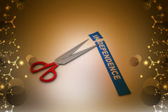 Scissor cut the word independence Royalty Free Stock Image