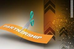 Scissor cutting the word partnership Royalty Free Stock Photography