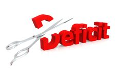 Scissor e deficit Fotografia de Stock Royalty Free