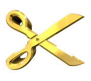 Scissor in gold - 3d Royalty Free Stock Images