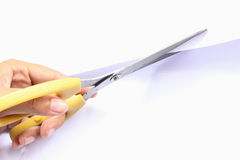 Scissor hand cut paper white metal Royalty Free Stock Photography
