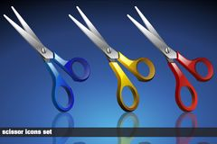 Scissor Icon Set Stock Images