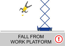 Scissor lift safety. Scissor lift and elevated work platform safety tips. Flat vector royalty free illustration