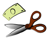 Scissor and money Stock Image