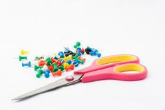 Scissor and pin Royalty Free Stock Images